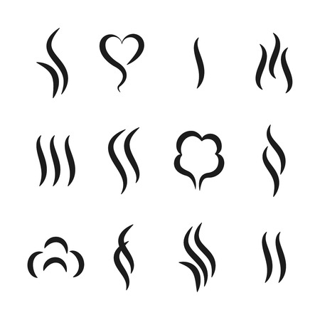 Aroma steam icons. Warm vapour and cooking smell abstract symbols, aroma water and oil odor. Vector tea and coffee smell black logos set