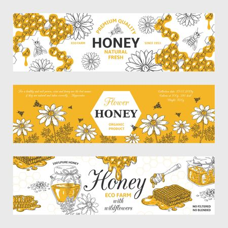 Honey labels. Honeycomb and bees vintage sketch background, hand drawn organic food retro design. Vector sweet nature organic honey graphic banners set Foto de archivo - 129716329