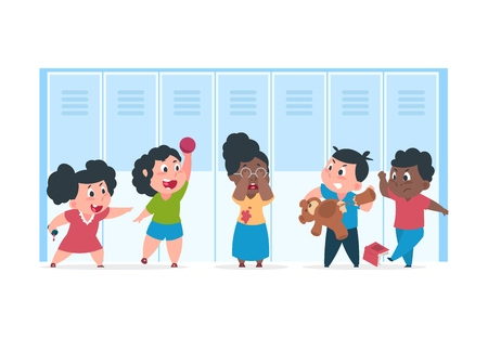 Kid bullying. Scared child suffer from bad angry kids, concept of bullying mocking at school. Vector teenager cartoon characters confrontation