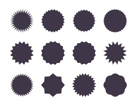 Starburst sale sticker. Sunburst price tag, promotion star set, black silhouettes on white background. Vector sale stickers jagged edge