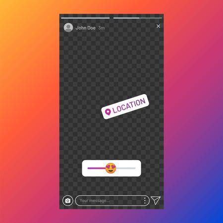 Poll element in social media, stories UI template, stories response sticker. Vector beauty app interface slider Ilustração