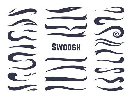 Swoosh e swash. Sottolinea le code di swish per i loghi di testo sportivo, elemento decorativo della linea di caratteri calligrafici a vortice. Set stile swash vettoriale