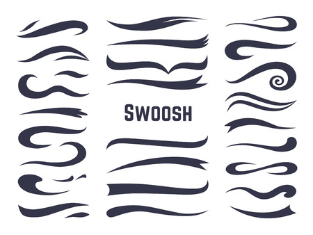 Swooshes and swashes. Underline swish tails for sport text logos, swirl calligraphic font line decoration element. Vector swash style set
