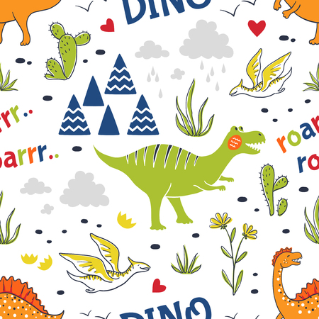Doodle dinosaur pattern. Seamless fabric print, trendy hand drawn textile design, cute childish dragons. Vector childish decorative background