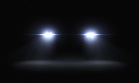 Fari auto realistici. Fasci di luce anteriore del treno, raggi di luce luminosi luminosi trasparenti, effetti di luce stradale notturna. Luci a led vettoriali 3d