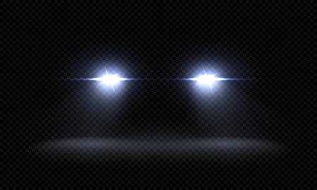 Realistische Autoscheinwerfer. Trainieren Sie vordere Lichtstrahlen, transparente hell leuchtende Lichtstrahlen, Nachtstraßenlichteffekte. Vektor-3D-LED-Leuchten