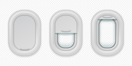 Airplane windows. Realistic aircraft porthole in different positions, open closed and half closed. Vector illuminations isolated design template Ilustrace