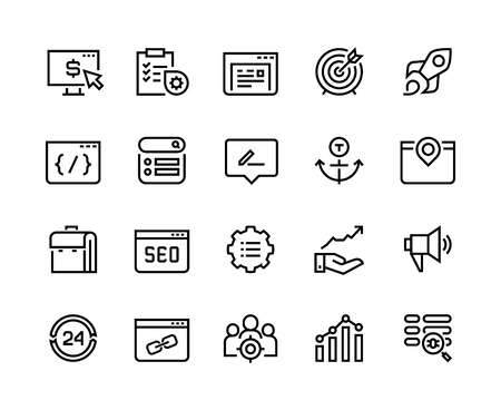 SEO line icons. Web business trend network analysis media target strategy website analytic. Search engine optimization vector infographic set