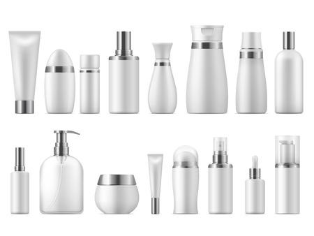 Emballage cosmétique réaliste. Produit cosmétique de beauté vide blanc 3D pack cosmétiques spa maquette vierge. Modèle de bouteille de soins en plastique de conception de vecteur Vecteurs