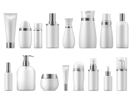 Realistic cosmetic package. Beauty cosmetic product empty white 3D pack spa cosmetics blank mockup. Vector design plastic care bottle template Vektorové ilustrace
