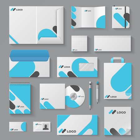 Identité de marque d'entreprise. Présentation de document de tasse de carte d'enveloppe de marque de maquette de papeterie d'affaires. Ensemble de modèles de logo vectoriel 3D Corporation