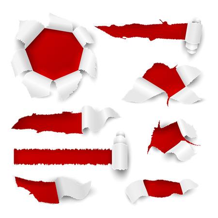 Otwór na papier. Realistyczna rozdarta krawędź rip biała naklejka na arkusz sprzedaż tag promocyjny karton otwory rolka strona. Wektor loch zgrywanie elementów przewijania Ilustracje wektorowe
