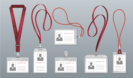 Realistic lanyard badge. Employee identification tag, blank plastic ID card holders with neck lanyards. Vector personal office pass holder pass name