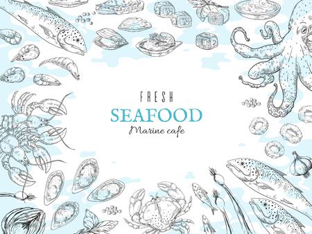 Hand drawn seafood background. Fish restaurant poster, gourmet dinner table, marine rustic food poster. Vector ocean fresh food sketch set