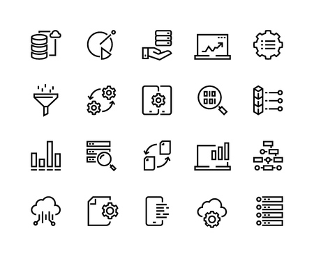 Data analytic line icons. Business technology process digital gear support information network tech. Big data analytics performance chart vector set