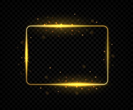 Golden square frame. Shining border lines with flares and sparkles, yellow rectangle shape with glowing effect. Vector golden sign on black backgrounds
