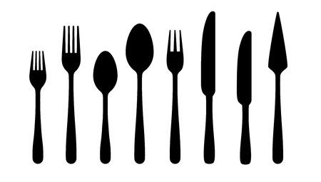 Siluetas de cubiertos. Tenedor cuchara cuchillo iconos negros, siluetas de cubiertos sobre fondo blanco. Cubiertos de vector para servir ilustración Ilustración de vector