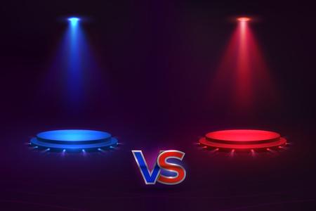 Contro il concetto. Ologramma piedistallo incandescente, partita di gioco VS sfondo, concorso di MMA. Modello vettoriale contro campionato