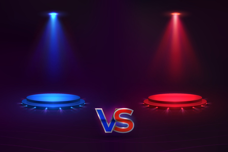 Versus concept. Glowing pedestal hologram, game match VS background, MMA competition contest. Vector versus championship template