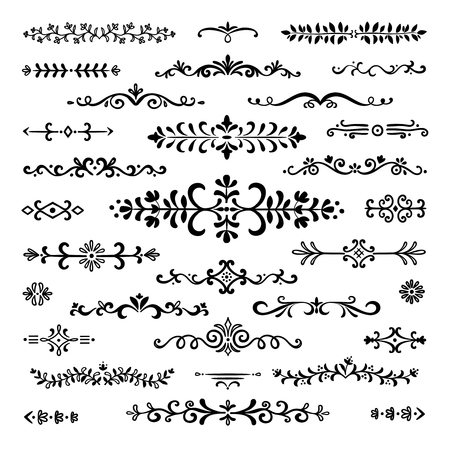 Divisores dibujados a mano. Líneas de texto separador de libros vintage decoración de borde ornamental garabato línea divisoria elementos de diseño boceto doodle conjunto de vectores de rotura