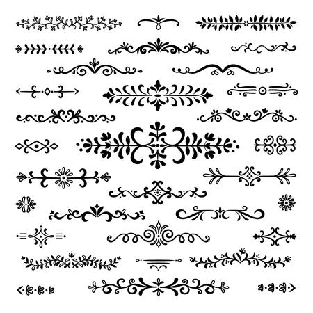 Hand drawn dividers. Text lines vintage book separator ornamental border decoration scribble dividing line design elements sketch doodle break vector set