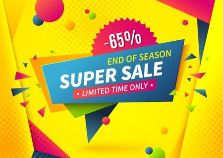 Sale banner. Special offer logo, weekend promotion label design template, super deal sale tag. Vector summer sale shop discount shape on blue background
