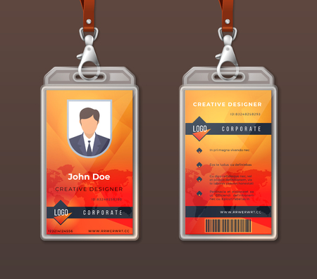 ID card corporate identity. Employee access badge design template, office identification tag layout. Vector company personal pass card