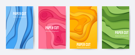 Paper cut posters. 3D background with abstract layer forms, minimal origami flyers 矢量图像