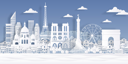 Paris paper landmark. Eiffel tower french monument, travel city symbol, paper cut cityscape design. Vector Paris origami skyline landscape