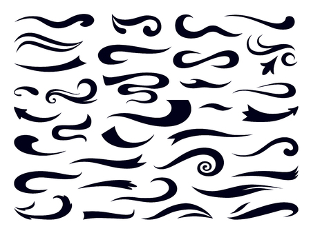 Swashes and swooshes. Curly swirl elements, retro typography underline design template, font lettering accent. Vector sports vintage black logo set