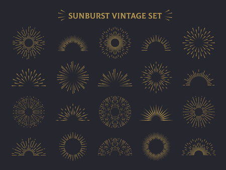 Sunburst set. Hand drawn sunrise firework sunset blast sunbeam burst sunshine ray decorative retro vintage vector line radial elements Illustration