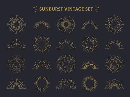 Sunburst set. Hand drawn sunrise firework sunset blast sunbeam burst sunshine ray decorative retro vintage vector line radial elements Çizim