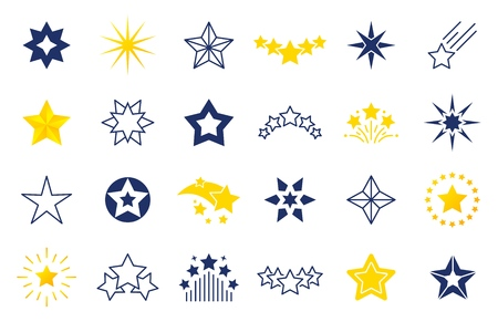 Star icons. Premium black and outline symbols of star shapes, four five six-pointed star labels on white background. Vector falling stars illustration set Archivio Fotografico - 125295958