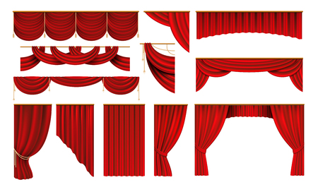 Realistic red curtains. Cinema and theater stage borders, 3D elegant backdrop folding drapery.