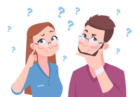 Confused man and woman. Young couple thinking a question, flat man and female, cartoon characters in doubt. Vector illustration ask worried group