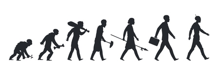 Human evolution silhouette. Monkey ape and caveman to businessman growing concept. Vector mankind development and evolution men Illustration
