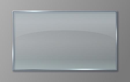 Transparente Glasscheibe. Klare Plastikfolie mit glänzendem Effekt, isolierte Acryl-Bannerplatte. Vektor 3D transparentes Glasschild Vektorgrafik