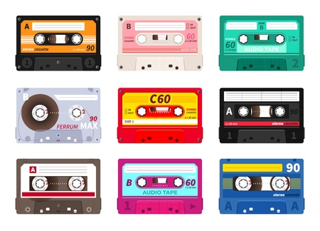 Retro cassettes. Vintage 1980s music tape, dj rave party mix, realistic stereo record set. Vector old school music cassette for media player Ilustracje wektorowe