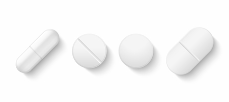 Realistic white pills. 3D drugs medicine capsules and vitamins, healthcare pharmacy tablets. Vector different isolated painkillers medicines on white background Ilustração