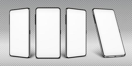 Modello realistico di smartphone. Cornice per cellulare con modelli isolati display vuoto, telefono con diverse angolazioni. Concetto di dispositivo mobile vettoriale