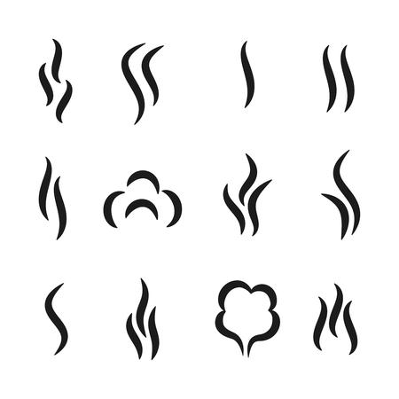 Icônes d'arôme de vapeur. Le café et le thé sentent des symboles noirs, un ensemble de vapeur de gaz parfumé et de vapeur d'eau. Les lignes vectorielles chauffent l'ensemble de pictogrammes de fumée Vecteurs