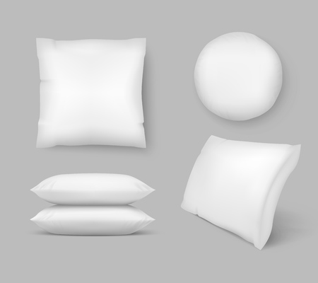 Realistic Comfortable Pillows. vector 3d comfort fluffy clean cushion - round and square. Isolated circle inflatable mockup graphic illustration