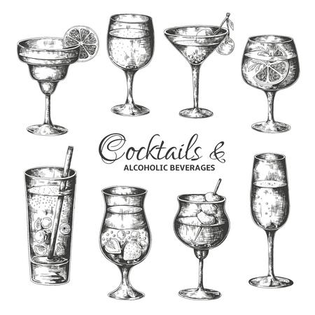 Cócteles dibujados a mano. Vasos vintage con licores y bebidas alcohólicas, menú de bosquejo de bebidas de verano. Vector conjunto de ilustraciones de bebidas vintage tropicales Ilustración de vector