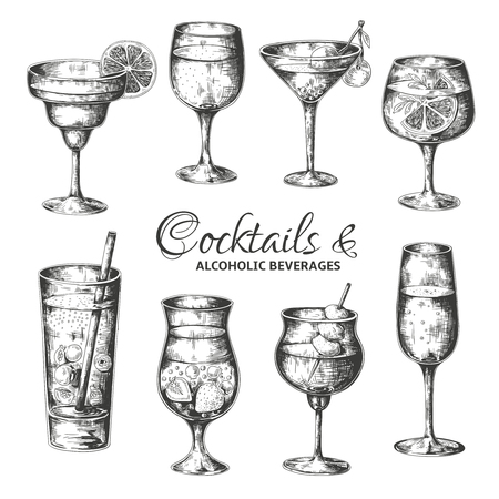 Hand drawn cocktails. Vintage glasses with liquors and alcoholic drinks, summer drinks sketch menu. Vector tropical vintage beverages illustrations set