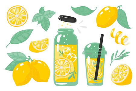 Citron jaune dessiné à la main. Limonade froide d'été avec des tranches de verre de bouteille de citron et de paille. Vector doodle jeu de tranche de citrons