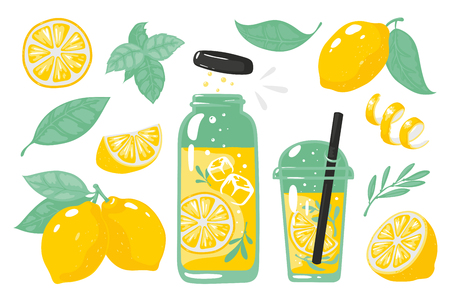 Hand drawn yellow lemon. Summer cold lemonade with slices of lemon bottle glass and straw. Vector doodle set of lemons slice
