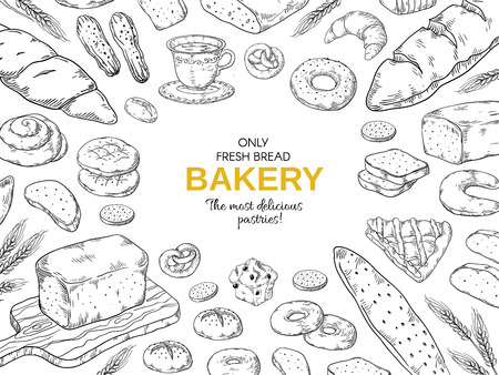 Bakery frame. Hand drawn bread and cookies banner for menu, sweet pies and cakes doodle design template. Vector vintage bakery set