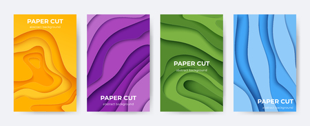 Paper cut posters. Abstract 3D layer background with origami shapes, minimal color paper cutout flyers. Vector liquid colourful technology brochures design Ilustração