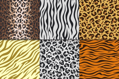 Seamless animal prints. Leopard tiger zebra skin patterns, texture stripes backgrounds. Vector Africa animals leathers different seamless patterns