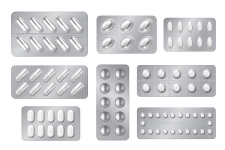 Realistic blisters. Medicine pill and capsule packs, white 3D drugs and vitamins isolated mockup. Vector pharmacy packaging tablet set Vektorové ilustrace